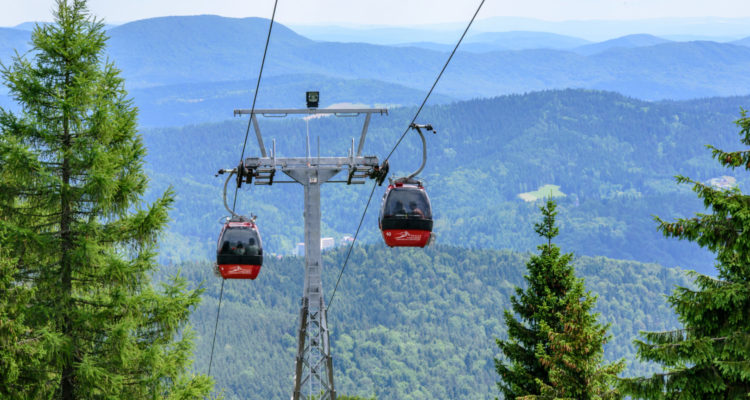 Krynica Poland - July 10. 2016: The gondola lift to the Jaworzyna Krynicka Mountain.