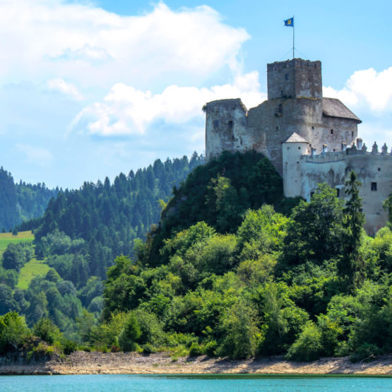 Beautifully situated Niedzica Castle on the Czorsztyn Lake in Pieniny Mountain